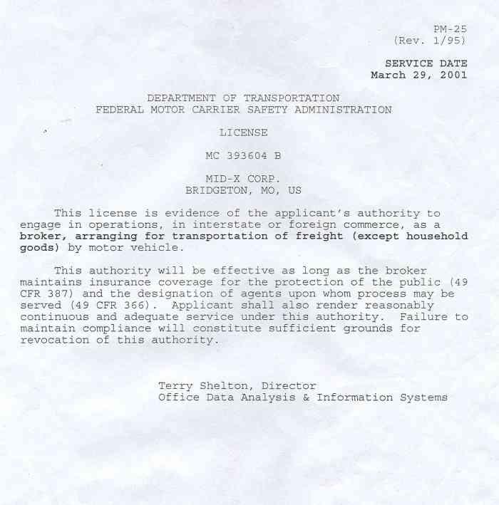 Express 2000 for Motor carrier certificate of registration